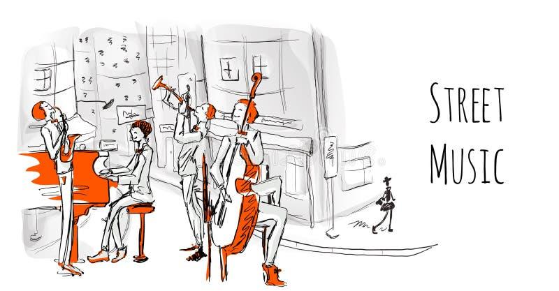 Una banda musical de los músicos de la calle El cuarteto juega jazz en una calle de la ciudad libre illustration