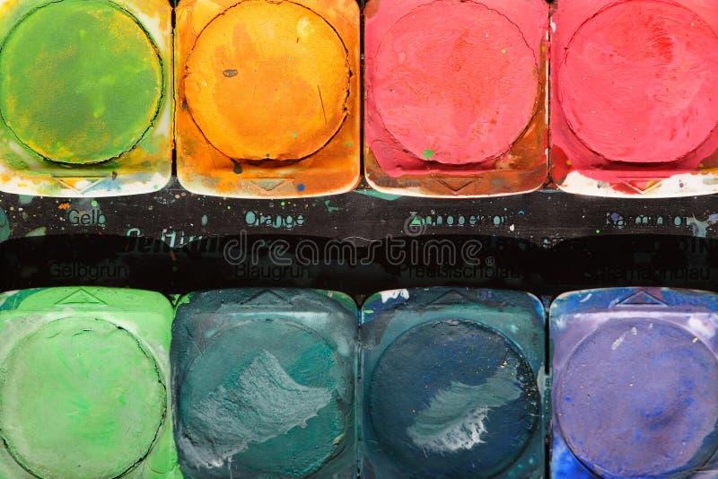 Una bandeja de pinturas de la acuarela imagen de archivo