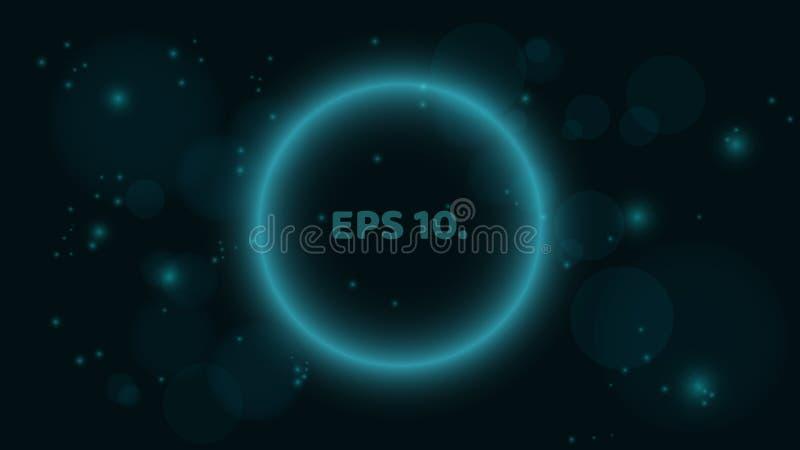 Una bandera azul redonda, que brilla intensamente en un fondo negro Bandera bajo la forma de burbuja Un lugar para sus proyectos  ilustración del vector