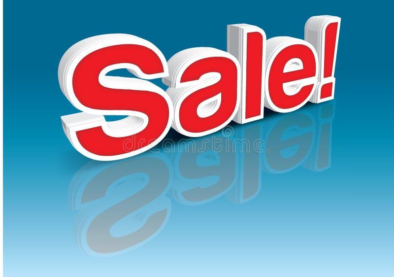 Una bandera de la venta en la perspectiva 3d en color rojo ilustración del vector