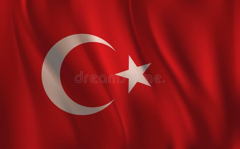 Una bandera de Turquía, agitando ilustración del vector