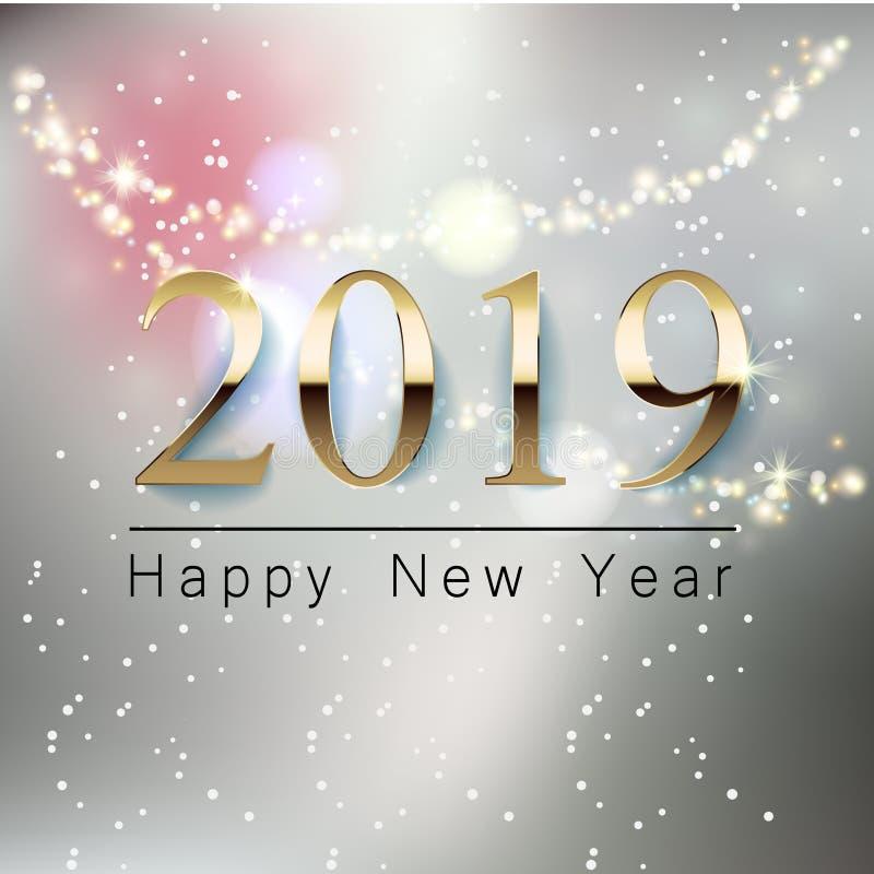 Una bandera hermosa del saludo del Año Nuevo con un fondo borroso, una inscripción de oro 2019 de la Feliz Año Nuevo glowing libre illustration