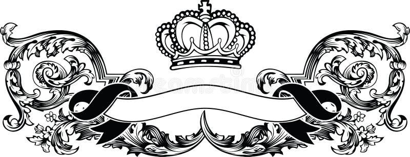 Una bandera real de la vendimia de la corona del color ilustración del vector