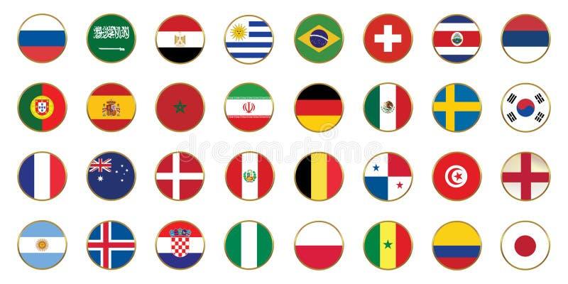 Una bandiera del campionato di calcio di 32 paesi Russia 2018 illustrazione di stock