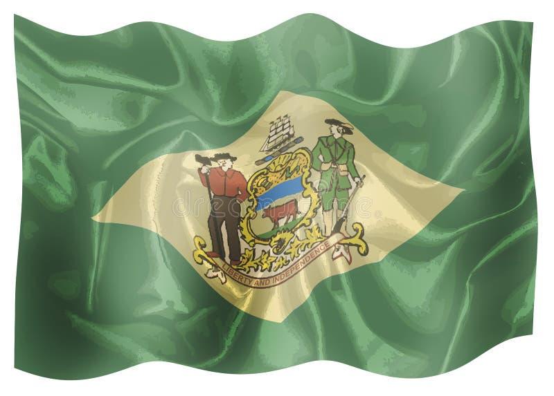 Una bandiera di seta dello stato USA del Delaware illustrazione di stock