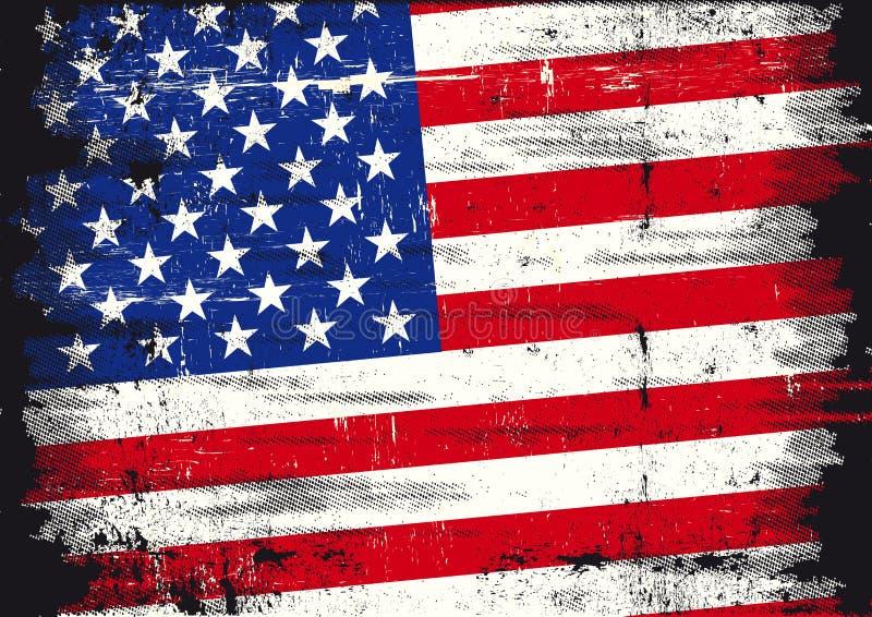 Una bandierina patriottica usata degli Stati Uniti con una struttura fotografia stock libera da diritti