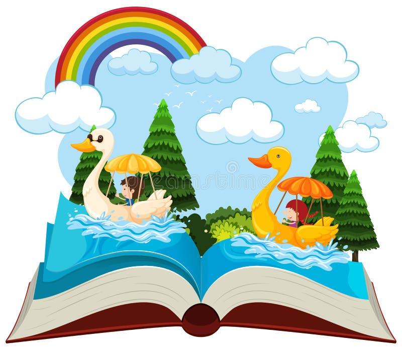 Una barca dell'anatra del libro aperto illustrazione di stock