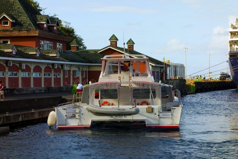 Una barca di escursione che si avvicina al molo della nave da crociera a Kingstown fotografia stock libera da diritti