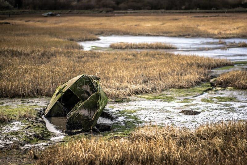 Una barca di fila verde affondata in acqua ad una palude sulla costa di Risonanza immagine stock