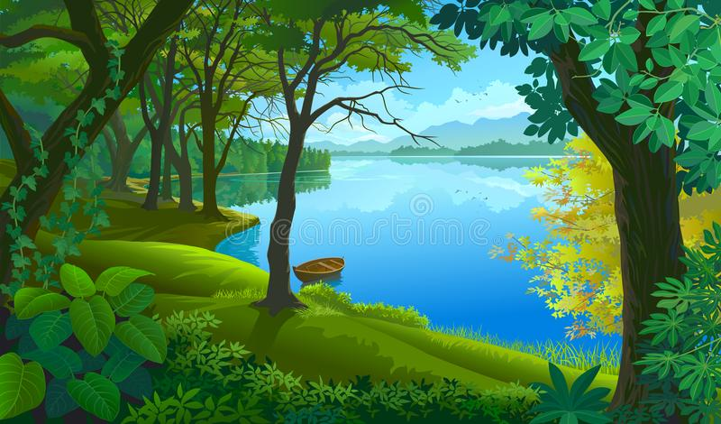 Una barca legata ad un tronco di albero in acque calme royalty illustrazione gratis