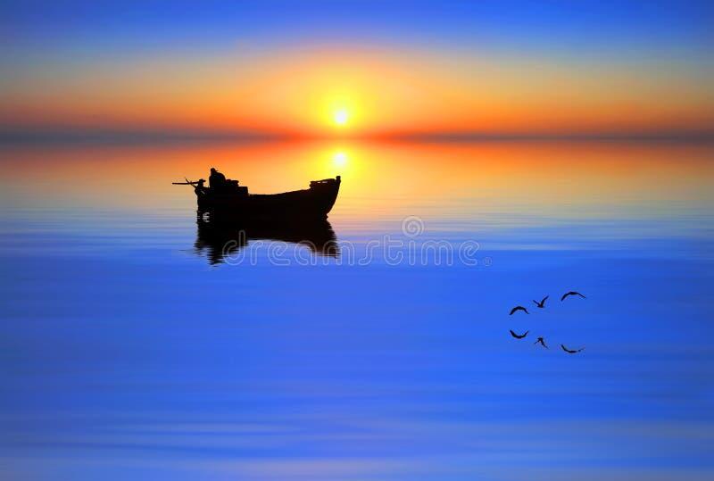 Una barca in mezzo al lago fotografia stock libera da diritti