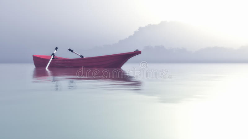Una barca su un mistico illustrazione di stock