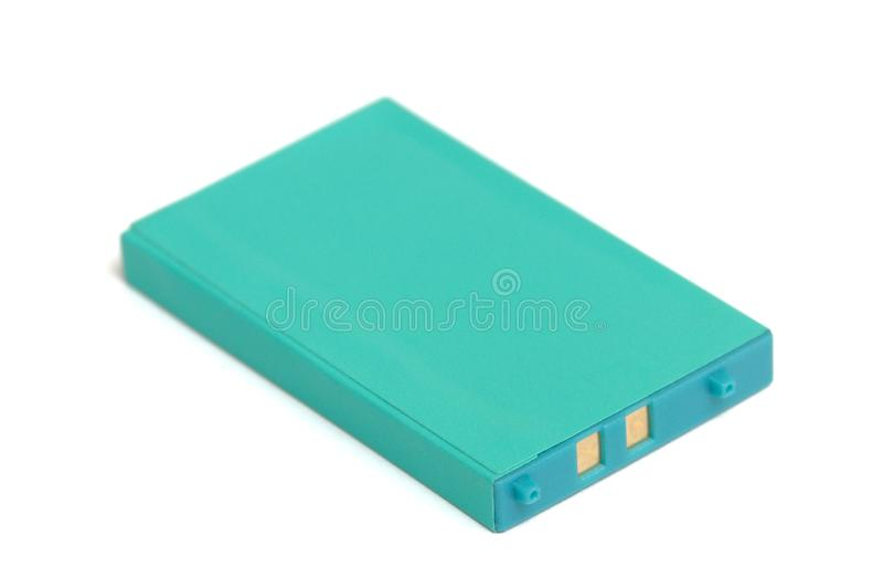 Una batería de ión de litio verde llana imagenes de archivo