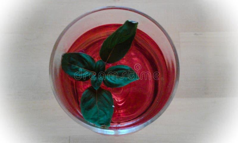 Una bebida de la fresa con la hoja de la basílica fotografía de archivo