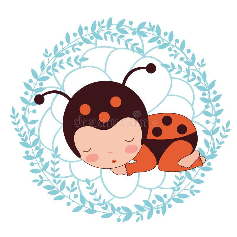 Una bella carta del bambino della coccinella royalty illustrazione gratis