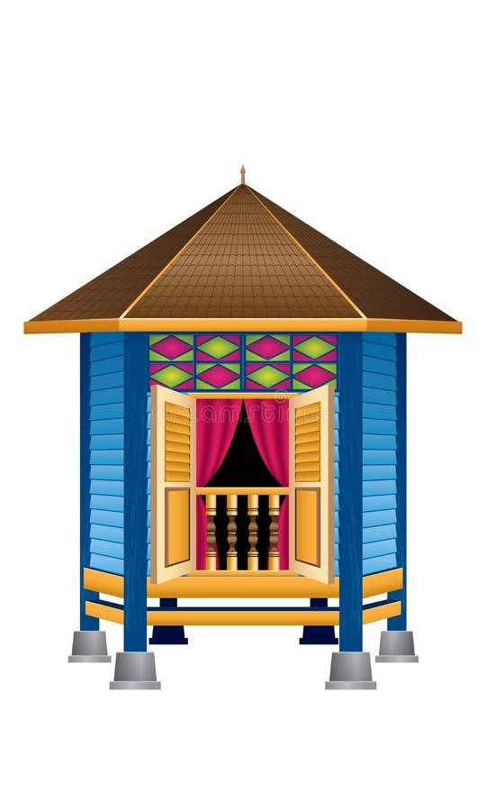 Una bella casa malese di legno tradizionale del villaggio di stile illustrazione vettoriale