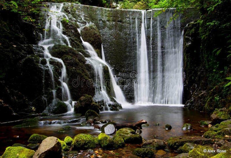 Una bella cascata in una valletta scozzese immagini stock