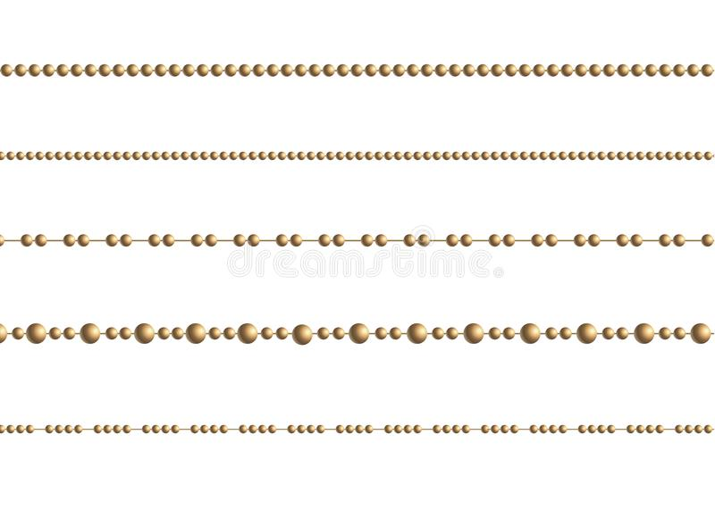 Una bella catena di colore dorato Le perle della corda sono realistico isolate Elemento decorativo di progettazione della perla d illustrazione vettoriale