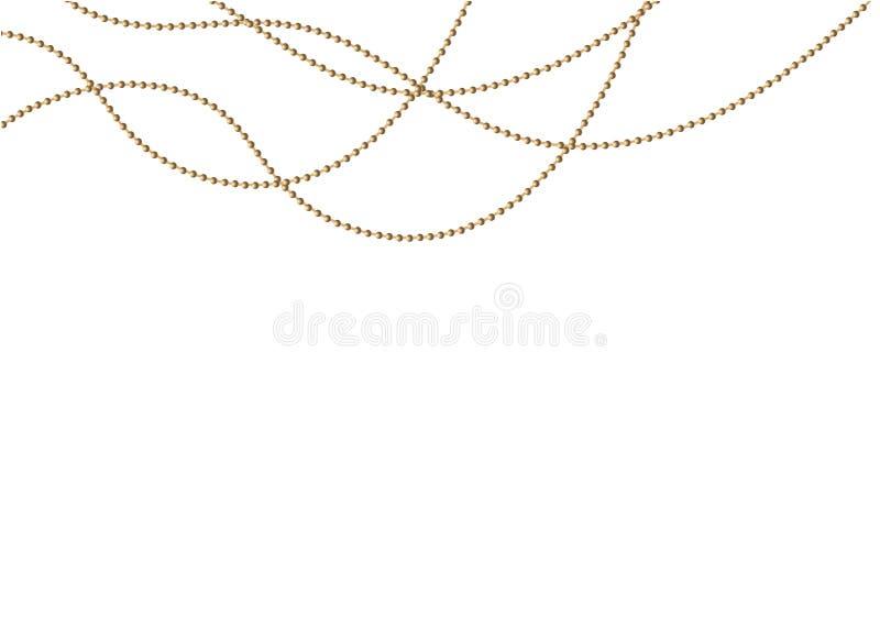 Una bella catena di colore dorato Le perle della corda sono realistico isolate Elemento decorativo di progettazione della perla d illustrazione di stock