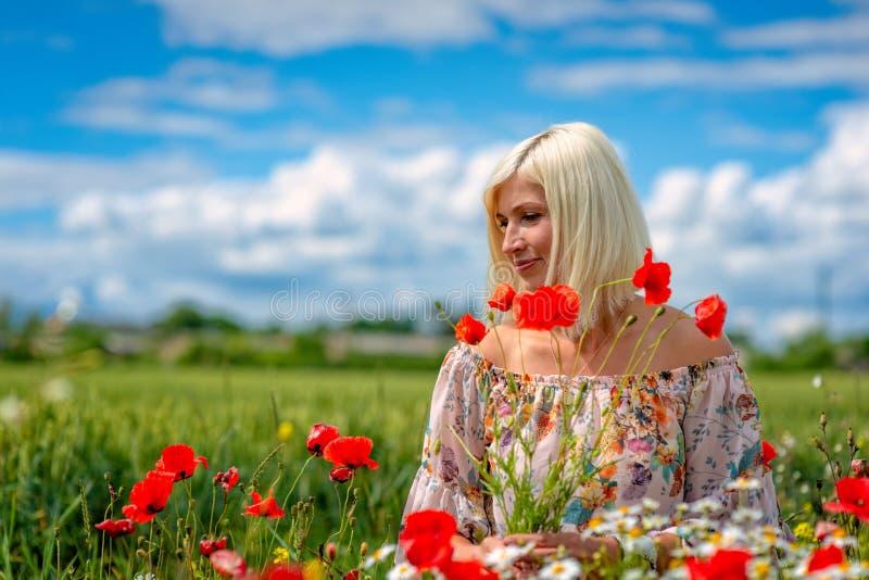 Una bella, donna attraente e bionda raccoglie i fiori del prato sull'orlo del campo Fuoco molle immagini stock