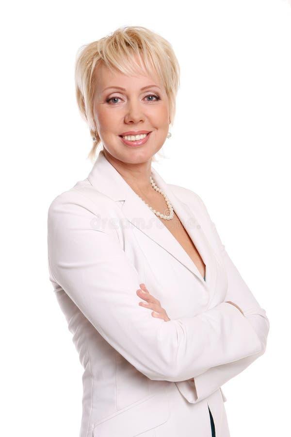 Una bella donna attraente su bianco immagine stock libera da diritti