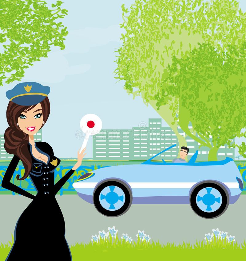 Una bella donna della polizia ferma l'auto illustrazione di stock