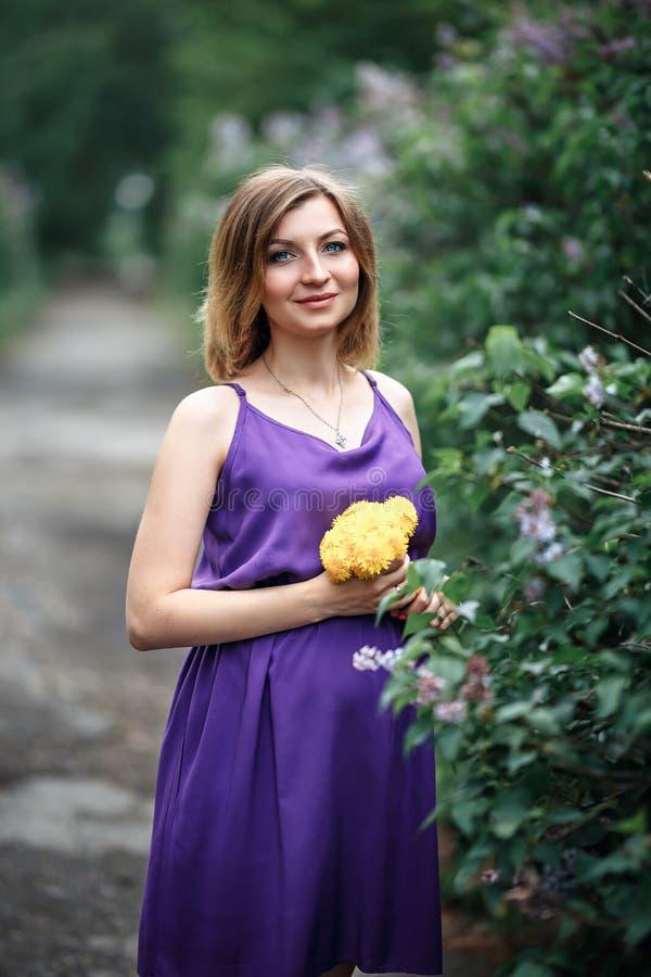 Una bella giovane donna incinta affascinante in vestito viola porpora in un giardino lilla di fioritura esamina la macchina fotog immagine stock libera da diritti