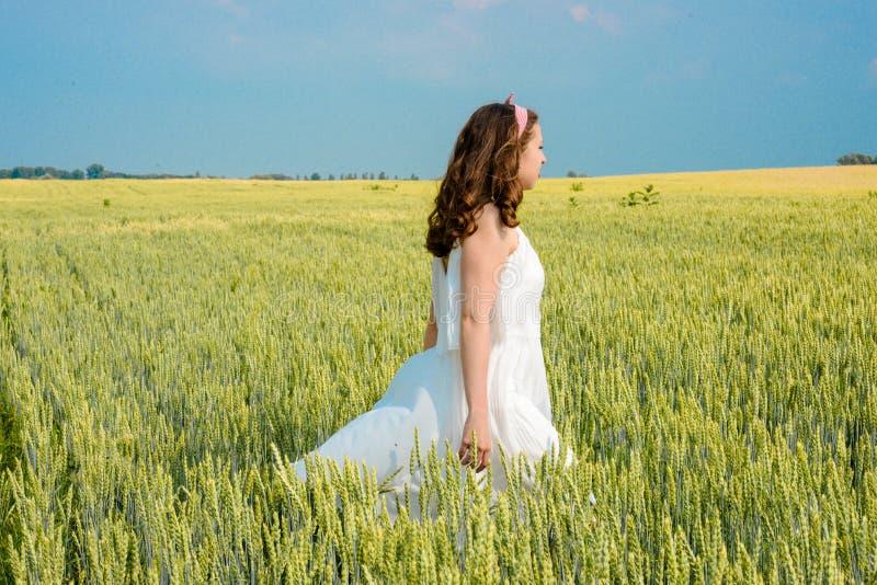 Download Una Bella Giovane Donna Su Un Giacimento Di Grano Immagine Stock - Immagine di persona, libero: 56876167