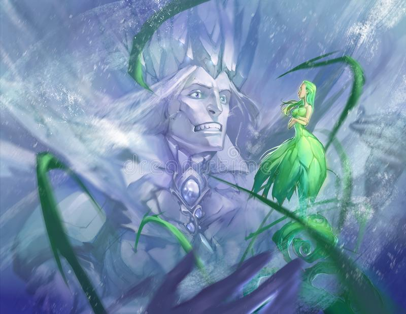 Una bella illustrazione di fantasia di due stagioni, inverno e primavere illustrazione vettoriale