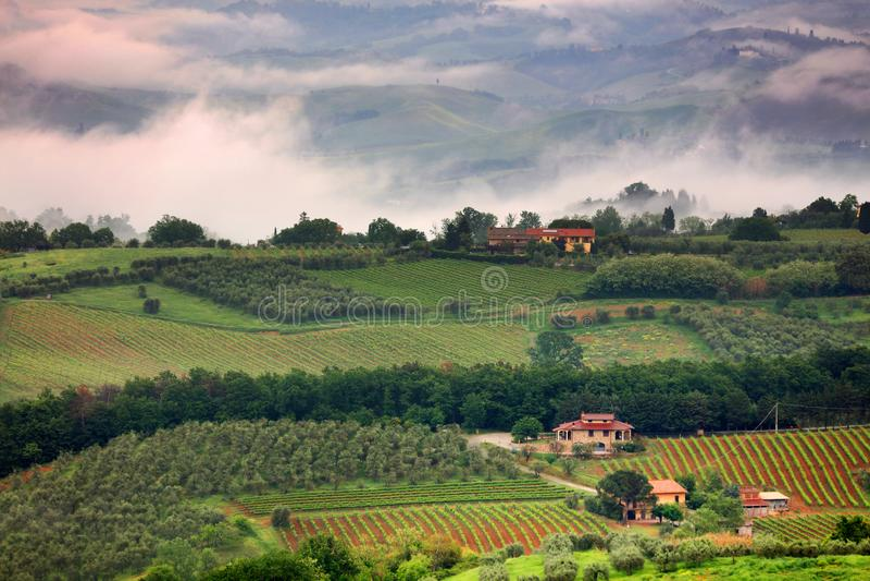 Una bella mattina nebbiosa in Toscana immagini stock
