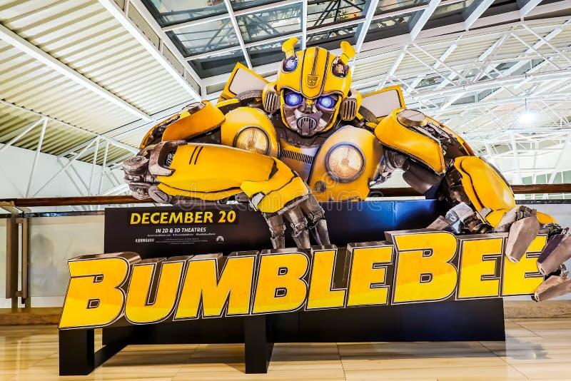 Una bella persona in piedi di un film ha chiamato la rappresentazione dell'esposizione di Bumblebee al cinema immagini stock