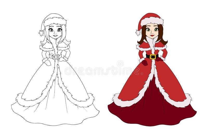 Una bella princesa de invierno vestida con el vestido de Santa Claus Dibujo de esquema Ilustración vectorial dibujada a mano Pued ilustración del vector