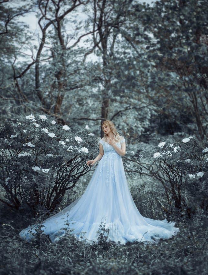 Una bella ragazza bionda, una dimensione di modello più, cammina in un giardino botanico e di fioritura contro il contesto di una fotografia stock