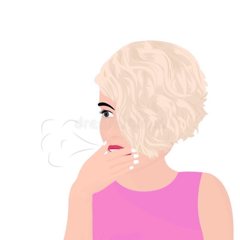 una bella ragazza che ha un rutto e che copre la sua bocca di passa royalty illustrazione gratis