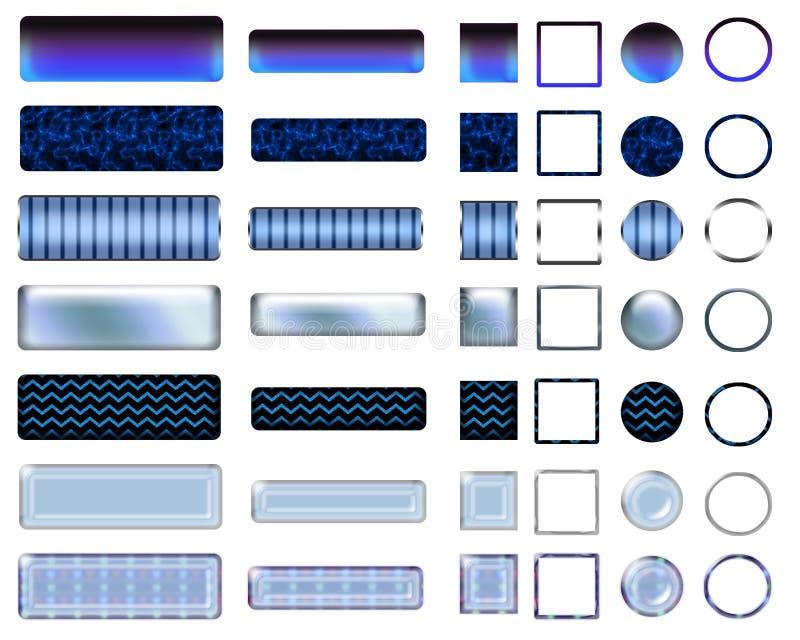 Una bella selezione blu del sito Web si abbottona nelle forme differenti illustrazione di stock