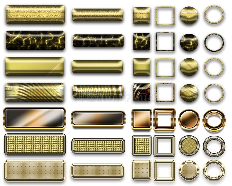 Una bella selezione dell'oro del sito Web si abbottona nelle forme differenti illustrazione vettoriale