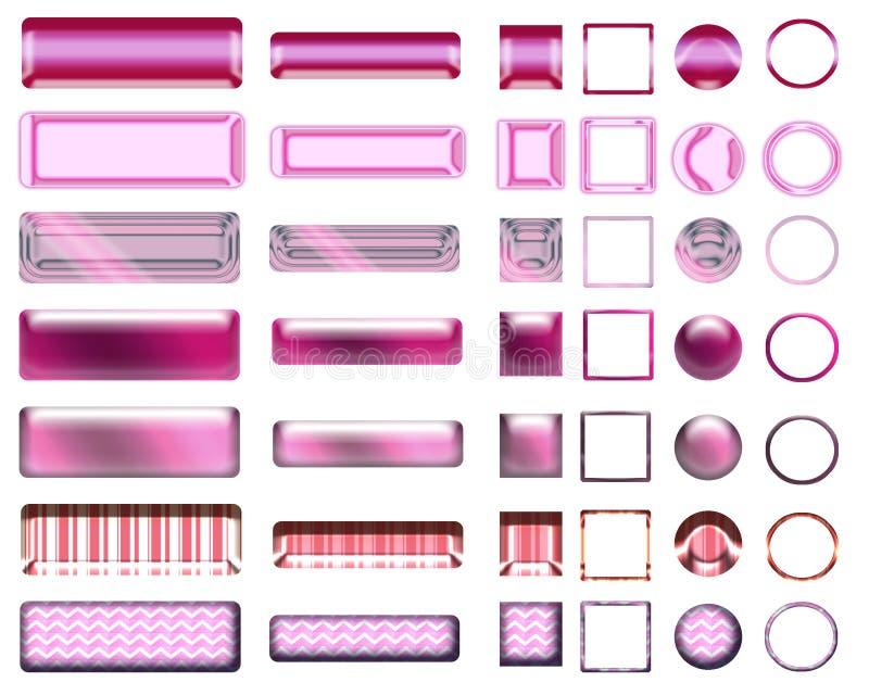 Una bella selezione rosa del sito Web si abbottona nelle forme differenti royalty illustrazione gratis