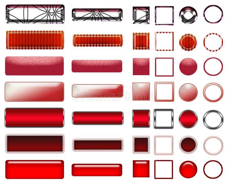 Una bella selezione rossa del sito Web si abbottona nelle forme differenti illustrazione di stock