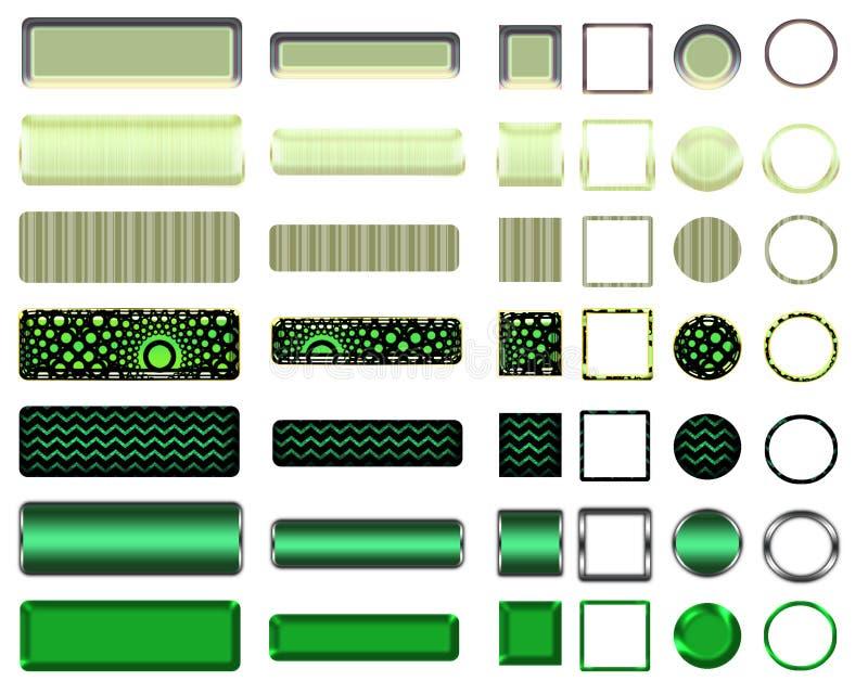 Una bella selezione verde del sito Web si abbottona nelle forme differenti illustrazione di stock