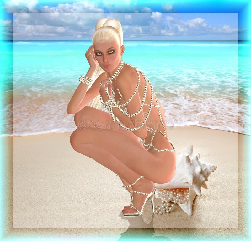 Una belleza rubia del arte digital se sienta en una cáscara del mar con las perlas que se derraman fuera de ellas Ella lleva un c imagen de archivo