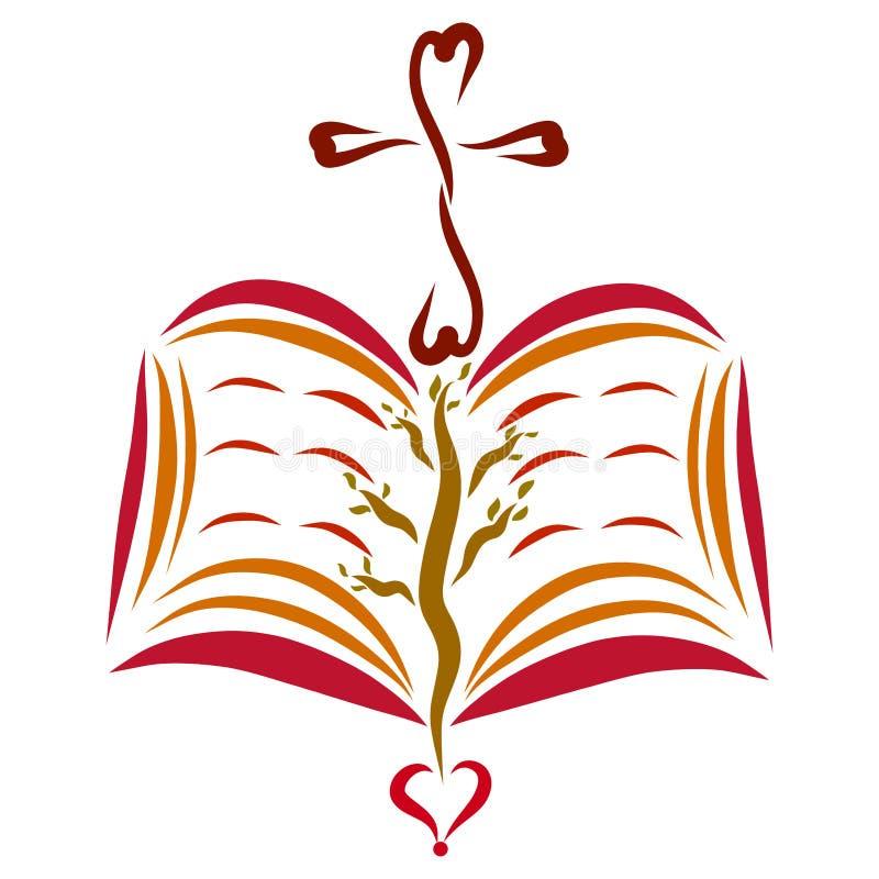 Una bibbia aperta con un incrocio e un cuore, un albero alle pagine illustrazione vettoriale