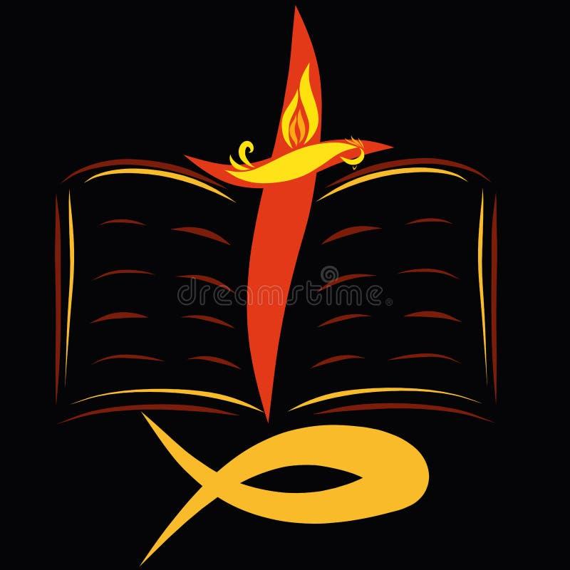 Una bibbia aperta con un incrocio, un pesce, un uccello e una fiamma su un blac illustrazione vettoriale
