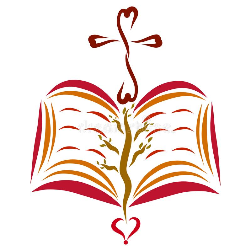 Una biblia abierta con una cruz y un corazón, un árbol en las páginas ilustración del vector