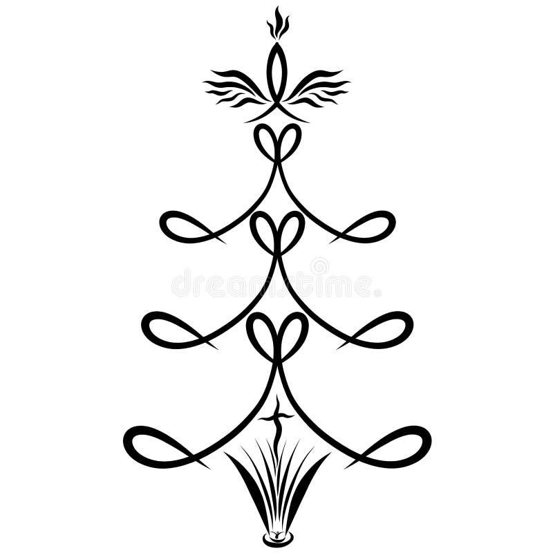 Una biblia abierta y una cruz en la base de un árbol con el cristiano s ilustración del vector