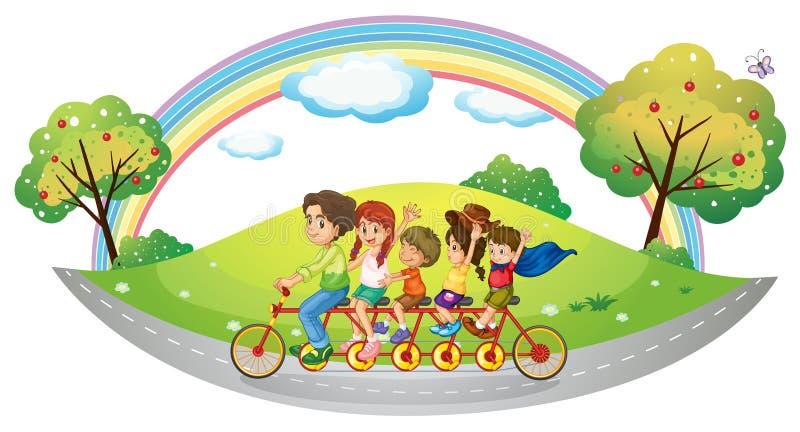 Una bici con molti pedali e ruote illustrazione vettoriale