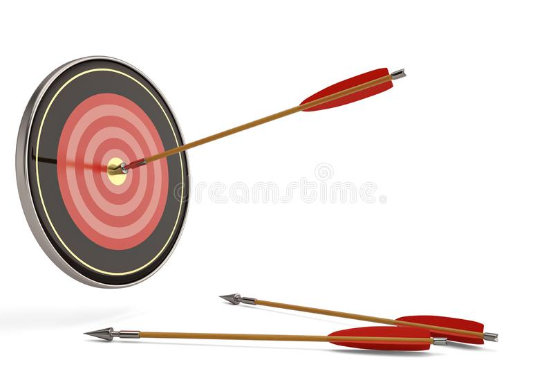 Una blanco roja del tiro al arco con las flechas rojas y de madera illustratio 3D stock de ilustración