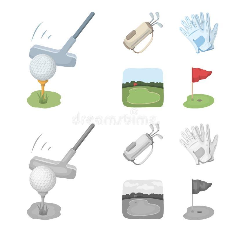 Una bola con un club de golf, un bolso con los palillos, guantes, un campo de golf Iconos determinados de la colección del club d ilustración del vector