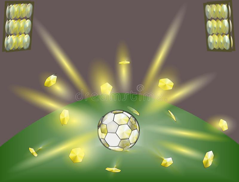 Una bola de oro es un día de fiesta del fútbol fotografía de archivo
