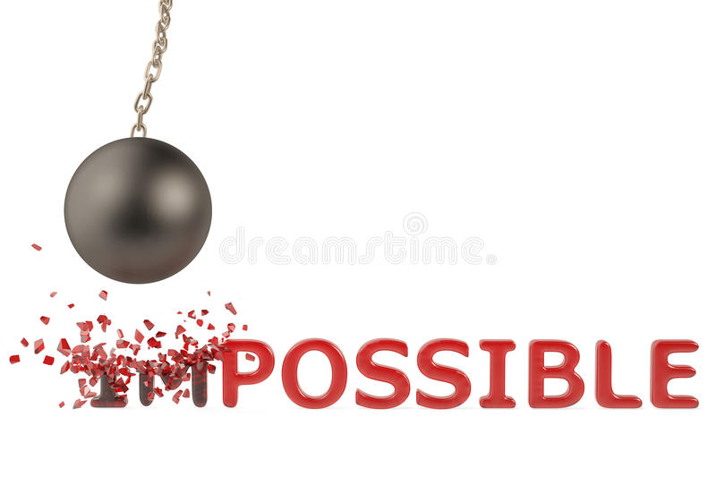 Una bola grande del hierro para romper el texto, imposible a posible, illustra 3D libre illustration