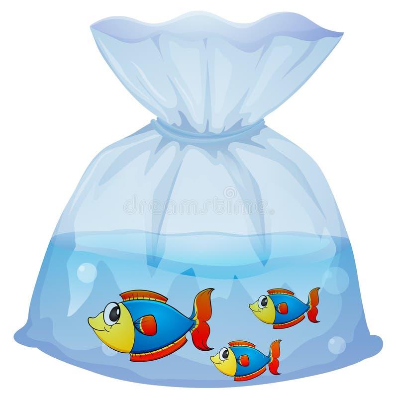 Una bolsa plástica con tres pescados ilustración del vector